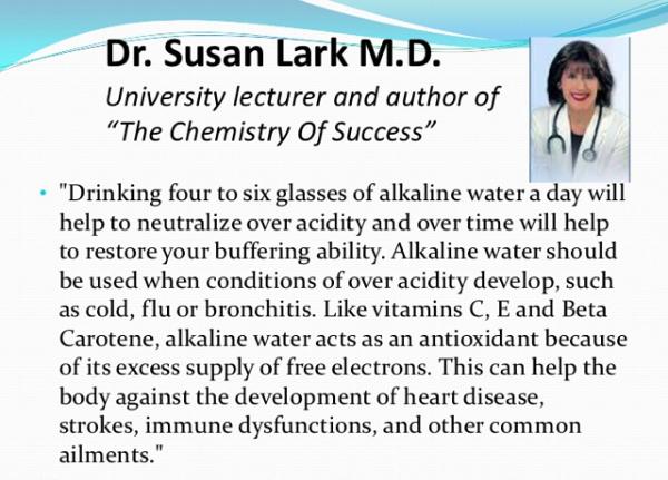 Bác sĩ Susan Lark và nước ion kiềm